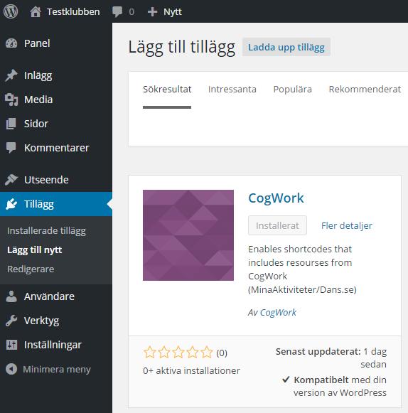 Lägg till tillägg sidan där ni söker efter CogWork..