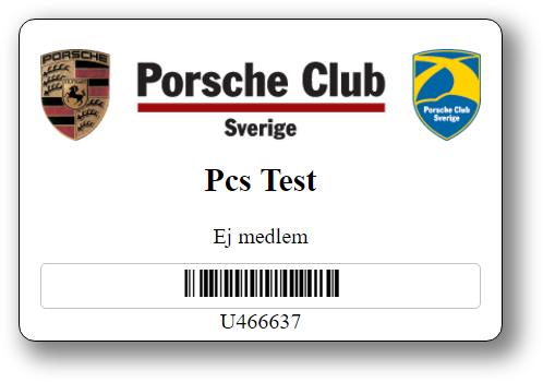 Porsche Club Sveriges anpassade medlemskort med deras logo längst upp